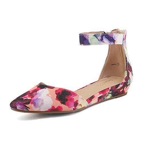 DREAM PAIRS Women's Floral Low Wedge Ankle Strap Flats Shoes Size 5.5 M US Amiga