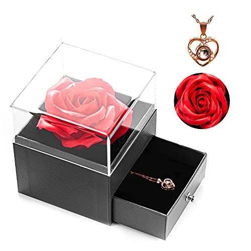 Handmade Forever Rose with I Love You Necklace 100 Langualages, Eternal...