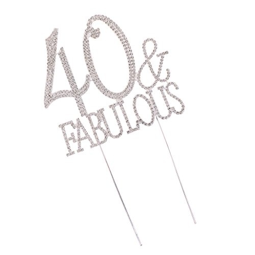 Blesiya Cake Topper Lettres 40 Fabulous Agrémenté de Strass Fantaisie Fourniture Anniversarie 40 Ans