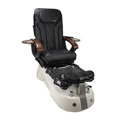 Siena Shiatsulogic Pedicure Chair White/Black Stylish Pedicure Tub w/Discharge Pump & Pipe-Less Whirlpool System Pedicure Spa, Black Cover Set