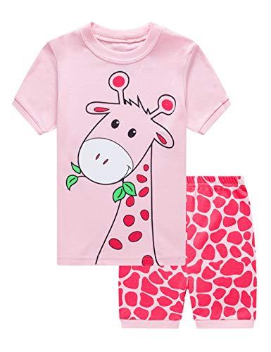 EULLA Mädchen Schlafanzug Kurz Einhorn Kinder Baumwolle Pyjama Schlafanzug Hosen Oberteile, 1-giraffe, 104/Herstellergröße:120
