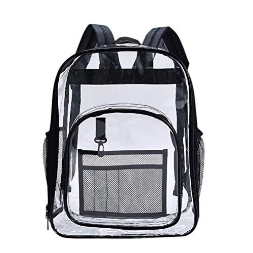 Mochila transparente de PVC, simples, mochila escolar para passeios, carregar livros, viagens, organizador de maquiagem (roxa), Viajar, Preto, Medium