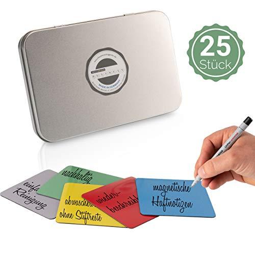 SMILEYBOARD 25 magnetische wiederverwendbare Haftnotizen für Scrum, Kanban, Kühlschrank, Schule - 7,5 x 7,5cm - 5 Farben