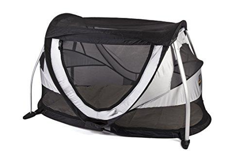 Deryan Peuter Box Reisebettzelt Kinderzelt Babyzelt Reisebettzelt inklusive Schlafmatte und Tragetasche mit Pop-Up innerhalb 2 Sekunden aufgebaut , silver, PB-SILVER, Silber