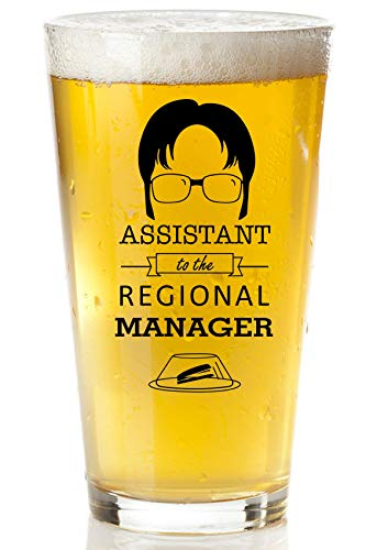 Assistant To The Regional Manager Beer glass - Funny Dwight Schrute The Office Merchandise - 16oz Collectible Dunder Mifflin The Office Mug For Men And Women