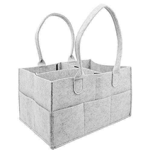 Babyluier-organizer, vilten mand luiers organizer, grijze baby handdoeken tas, kinderkamer wikkeltas (33 x 23 x 18 cm)