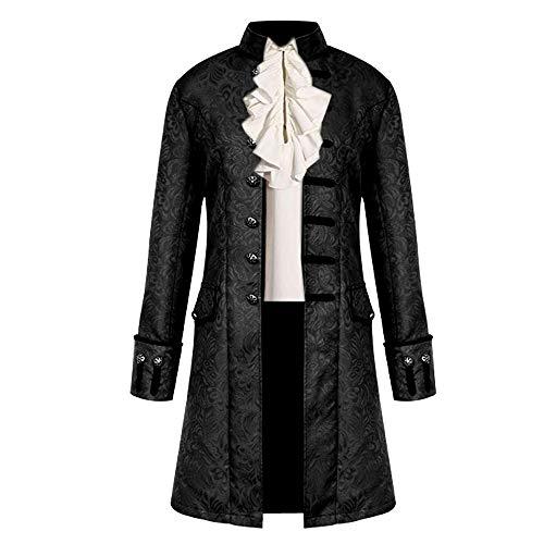 VERNASSA Steampunk Victorienne Pirate Gothique Cosplay Manteau pour Hommes Manteau Jacquard Veste Manteau Costume médiéval d'halloween, S-4XL