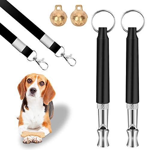 Dog Training Whistle, Ultrasonic Sound Dog Whistle, Adjustable Lanyard and Frequencies, Comes with Exquisite Bells, Used for Pet Training play interaction, Professional Dog Whistles to Stop Barking