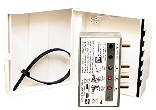 ATP30-3UU(LTE) Reg - Amplificatore Antenna Tv da Palo con Filtro Lte 4g, Guadagno Massimo 30dB (Regolabile), Amplificatore Antenna Tv 3 Ingressi: III + 2 x UHF, Amplificatore Bande Separate