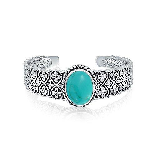Südwestlichen Stil Oval Cabochon Stabilisiert Türkis Manschette Armband Für Frauen Flora Gitter Link 925 Sterling Silber