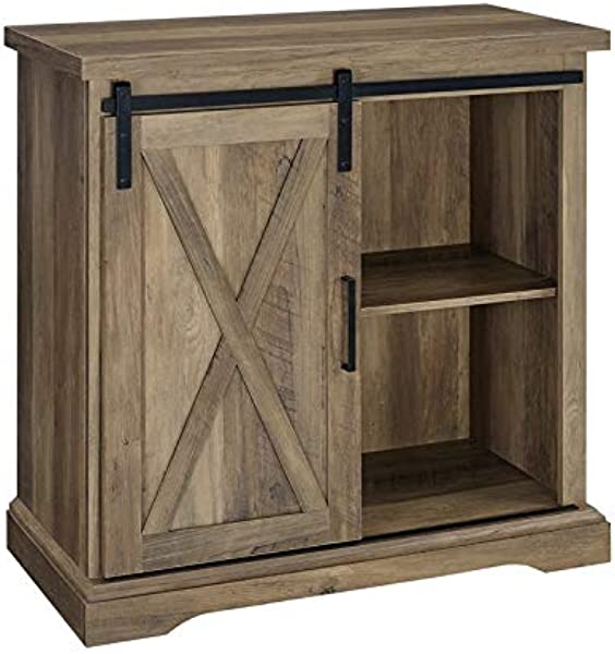 Pemberly Row 32 Farmhouse Barn Door Buffet TV Stand In Rustic Oak