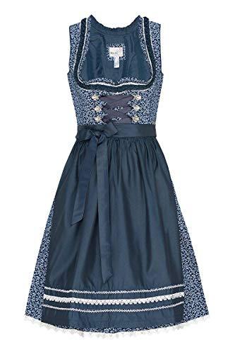 MarJo Moser Trachten Baumwolle Mini Dirndl 60er dunkelblau Gemustert dunkelblau Domenica 006474, Rocklänge: ca. 60cm, mit Reißverschluss, Größe 34