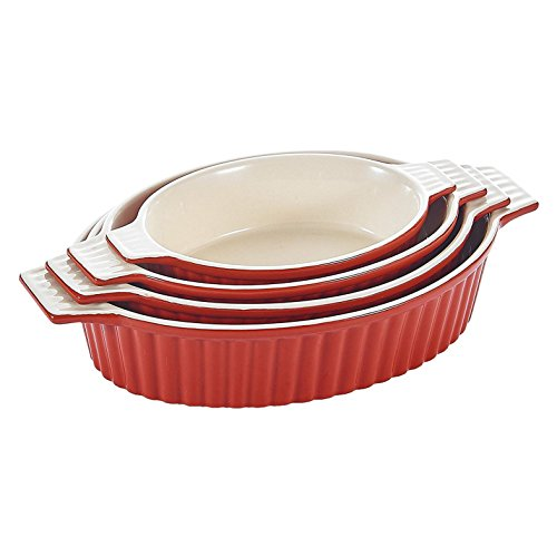 MALACASA, 4pcs Plats de Cuisson au Four en Porcelain, Plateaux de Cuisson, Ramequin Rouge