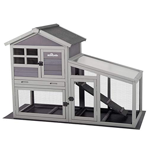 Rabbit Hutch Bunny Cage Indoor Outdoor Rabbit House with Pull Out Tray, Chicken Coop with Removable Bottom Wire Mesh & PVC Layer, Upgrade Version