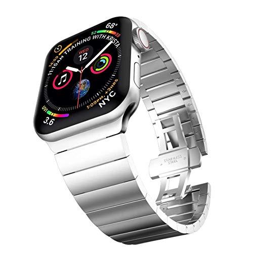 SENDORFF Hype - Cinturino di ricambio per Apple Watch, adatto per serie 1/2/3/4/5/6 & SE, in acciaio inox, 38 mm, 40 mm, 42 mm, 44 mm (42 mm/44 mm, acciaio argento)