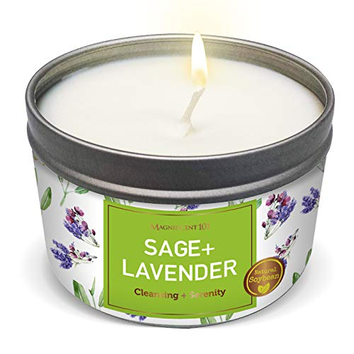MAGNIFICENT 101 SAGE + Candle for House Energy Cleansing, Banishes Negative Energy I Purification and Chakra Healing - Natural Soy Wax Tin Candle for Aromatherapy 6oz (Sage + Lavender, Tin Candle)
