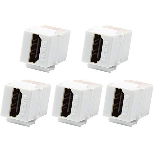 VICTEK 5-Pack HDMI Keystone Female to Female Coupler Snap-in for Wall Plate - White