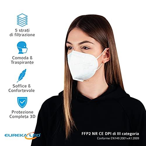 Eurekaled 20 Stück Atemschutzmaske Kn95 / FFP2 Atemschutzmaske Staubschutz 4-lagig - 5