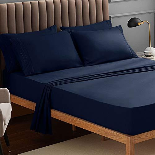 Juego de ropa de cama de Veeyoo, antiarrugas, hipoalergénico, suave, 3piezas, color blanco, poliéster, azul marino, UK King