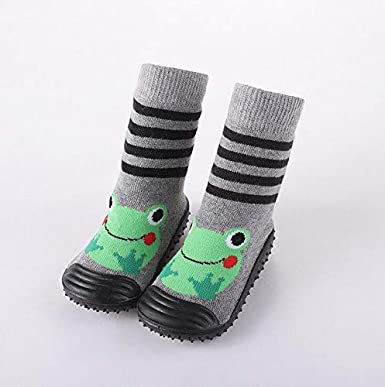 Baby Toddler Sock Shoes Non-Skid Slipper with Soft Soles Warm Non-Slip Soft-Soled Waterproof Floor Shoes for Learning Walking Gray, 20//21 Yards 12.5cm//4.92in