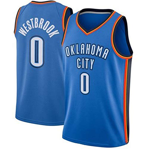 BDBY Thunder No. 0 Westbrook Basketball Jersey, Chaleco para Adultos con Cuello en V, un Chaleco Deportivo Transpirable sin Mangas, un Regalo conmemorativo para los fanát S