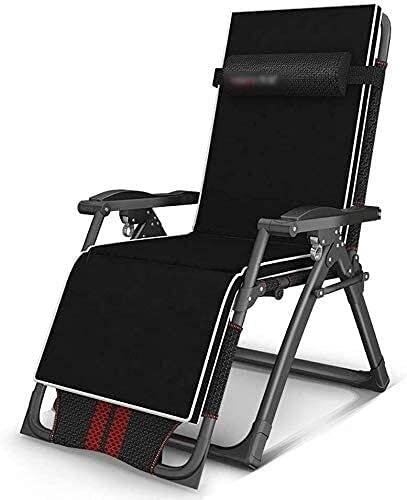 KDRICH Sillón reclinable al aire libre sillas plegables para el hogar cama de descanso individual oficina siesta artefacto silla multifunción tumbona, negro rojo silla gravedad cero