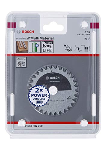 Bosch Professional Kreissägeblatt Standard for MultiMaterial (Laminatbodenbelägen, Nichteisenmetallen, Aluminium, Kunststoffen, Epoxidharz, Holz, 85 x 15 x 1,5 mm, 30 Zähne, Zubehör Akku Kreissäge)