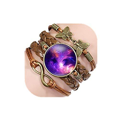 Youkeshan Nebulosa Galaxy Space Glass Cabujón de cuero trenzado pulseras de joyería para hombre