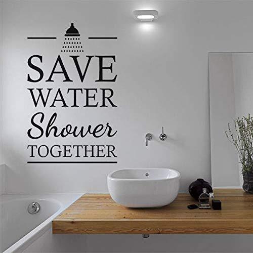 Preisvergleich Produktbild Yyoutop Sparen Sie Wasser Dusche zusammen zitieren Vinyl Wandbilder Badezimmer Innendekoration abnehmbare Dusche Stil Schriftzug Wand RS 5 7x88cm