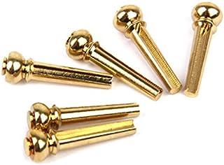 Lote de 6pcs clavijas de caballetes (piezas de repuesto para guitarra acústica–color dorado