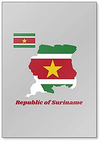 Kühlschrankmagnet, Motiv Landkarte & Flagge von Suriname