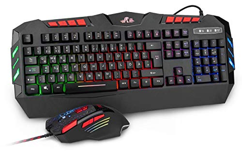 Rii RK900+ Gaming Tastatur und Maus Set - RGB LED Hintergrundbeleuchtung in deutschem QWERTZ Layout - leiser Tastenanschlag