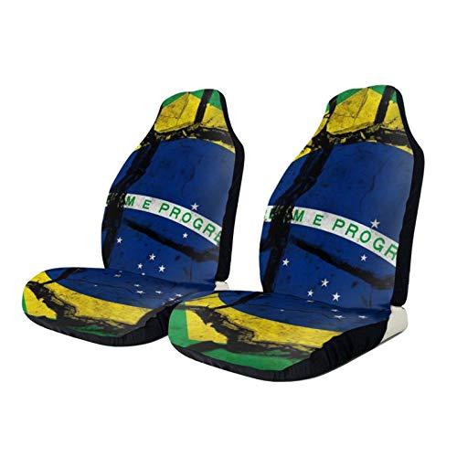 Bandiera Del Brasile - Funda protectora para asiento de coche, antideslizante, tamaño universal, compatible con coches, camiones y SUV, 2 unidades