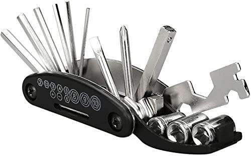 AIlysa Fahrrad Multitool, 16 in 1 Werkzeug Set für Fahrrad Reparatur, Faltbares Multifunktionswerkzeug Fahrrad Reparatur Werkzeug, Fahrrad Zubehör für Mountainbikes und Rennräder (Schwarz)