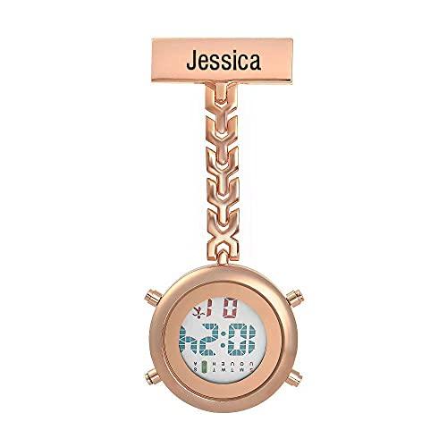 Jewelora Reloj Digital para Enfermeras con Nombre Personalizado y Luminoso con Hora y Calendario Reloj médico de Bolsillo para médico Pin de Solapa Colgante Broche para Mujeres y Hombres (R)