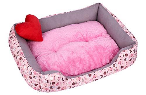 ZhuikunA Liege Hundebett Katzenbett Baumwolle Haustier Bett Kissen für Hunde Katzen Kleintiere Kissen Pink M