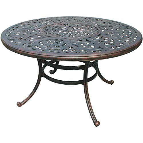 """Darlee Series 80 52"""" Round Patio Dining Table in Antique Bronze"""