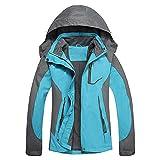 LHHMZ Damen Wanderjacke, winddicht, leicht, atmungsaktiv, wasserdicht, Outdoor-Softshell-Jacke mit Kapuze M 01blue