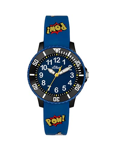 s.Oliver Jungen Analog Quarz Uhr mit Silicone Armband SO-4002-PQ