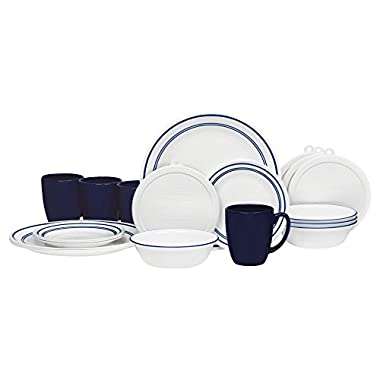 Corelle Classic Café Blue Dinnerware Set with Lids (20-Piece, White)
