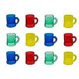 Assorted Color 1oz Plastic Mini Mug Shot Glasses - 12 Pack