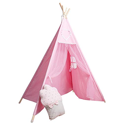 Tiber tent voor kinderen in India, opvouwbare katoenen campingtent met raam voor kinderkamer, speelkamer, woonkamer, maat 120 * 120 * 145 cm (roze),Pink