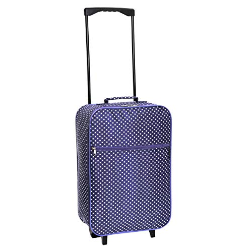 Slimbridge Cabin Carry-on Hand Luggage Suitcase Bag Ultra Lightweight 55 cm 0.95 kg 27 litres 2 Wheels, Barcelona Purple Dots