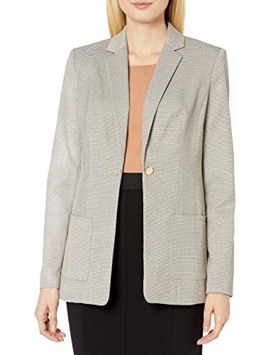 Calvin Klein Women's One Button Novelty Jacket, Khaki Multi, 14