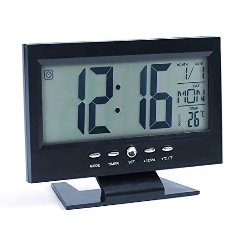 yiteng 目覚まし時計 置き時計 デジタル時計 温度計付き カレンダー 温度 電波デジタル セイコー クロック 屋内 屋外温度計 卓上時計 音声感知