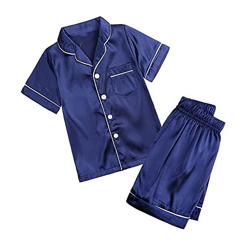 2 Pieces Kids Silky Satin Pajamas Set Unisex Little Girls Boys Button-Down Silk Sleepwear Short Sleeve Tops + Short Pants