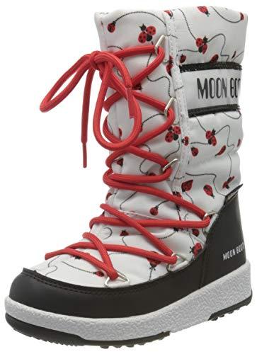 Moon-boot Jr Girl Quilted Ladybug WP, Stivali da Neve Bambini e Ragazzi, Bianco (Bianco 001), 34 EU