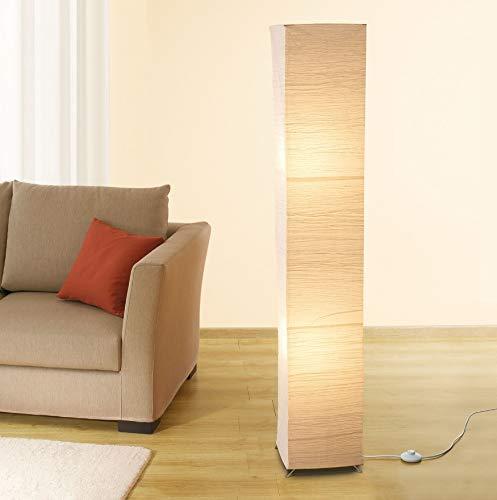 Trango 1213L Modern Design LED Stehlampe *OSLO* Reispapier Lampe in eckig mit beigefarbenem Lampenschirm Stehleuchte 125cm Hoch incl. 2x E14 LED Leuchtmittel, Wohnzimmer Stehleuchte 100% *HANDMADE*