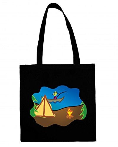 Jutebeutel Campingplatz- Fischerei- Feuer- Camping- Boot- KARIKATUREN- Zelt- Lager- Fisch- Natur- IM FREIEN- Urlaub- Abenteuer- Freizeit Baumwolltasche Einkaufstasche