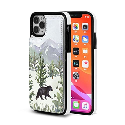 XIANGYANG Estuche para teléfono,Estuche de Oso de Bosque de montaña en Acuarela para iPhone 11 Pro 5.8 Estuche con Tarjetero para Mujeres Hombres Estuche Lindo para Billetera